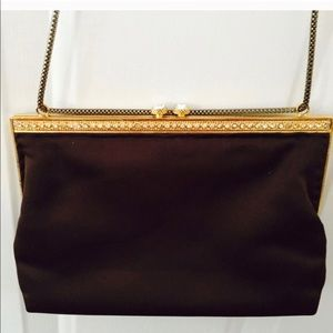 Vtg WALBORG Brown Satin & Rhinestone Shoulder Bag